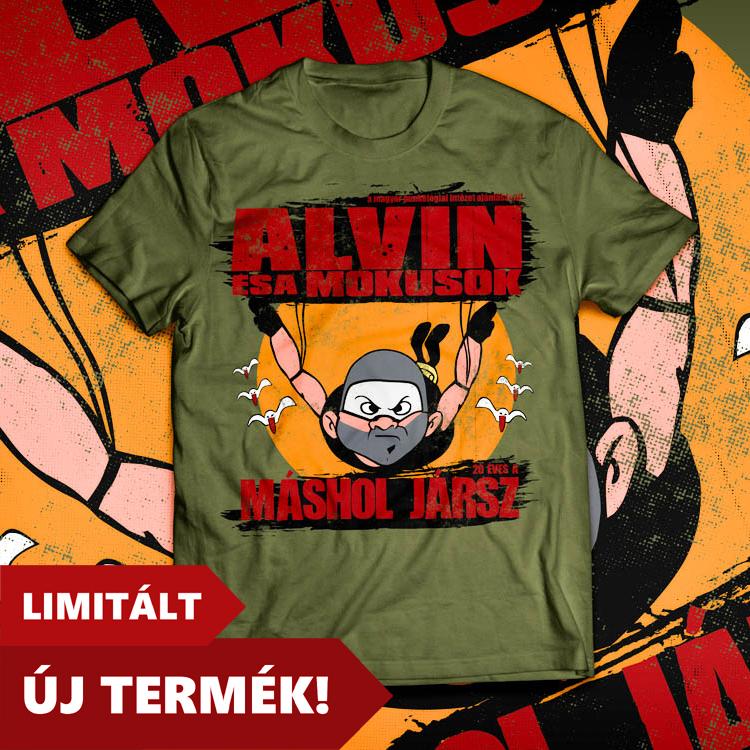1499 Ft Részletek  ALVIN  MÁSHOL JÁRSZ 20 (férfi póló) - Olajzöld f75b20d68e